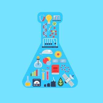 Iconos de la ciencia de estilo plano en forma de ilustración de frasco químico. medicina y química, biología investigación molecular.