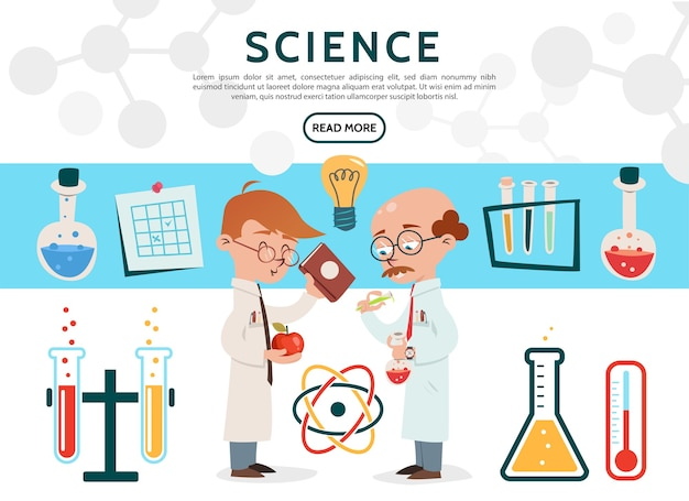 Iconos de ciencia plana con científicos en tubos de laboratorio, botellas, termómetro de bulbo