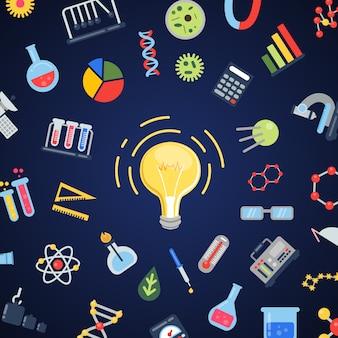 Iconos de la ciencia volando alrededor de la bombilla