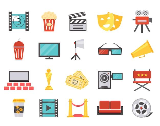 Iconos de cine moderno en estilo plano. el concepto de rodaje y estreno en el cine. ilustración vectorial