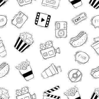 Iconos de cine o cine en patrones sin fisuras con estilo doodle sobre fondo blanco.