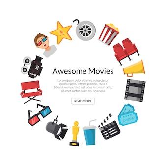 Iconos de cine plano en círculo