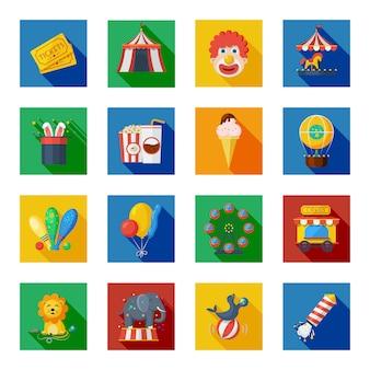 Iconos de circo planos