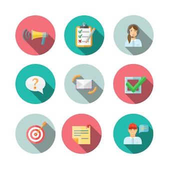 Iconos de círculo de pictogramas de tecnología móvil web de retroalimentación conjunto ilustración vectorial plana