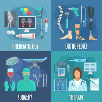 Iconos de cirugía, terapia, ortopedia y reumatología con símbolos planos de médicos, mesa de operaciones y herramientas de cirugía, formulario de chequeo