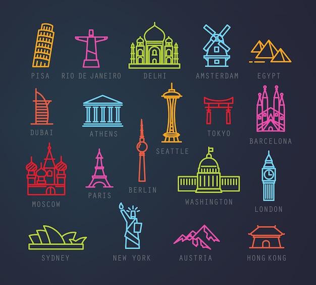 Iconos de la ciudad en estilo plano de neón