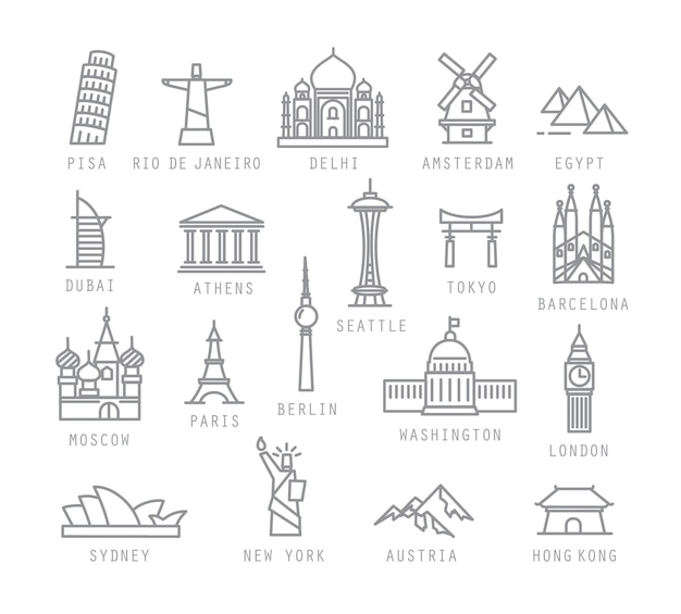 Iconos de la ciudad en estilo plano
