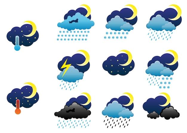Iconos del clima nocturno