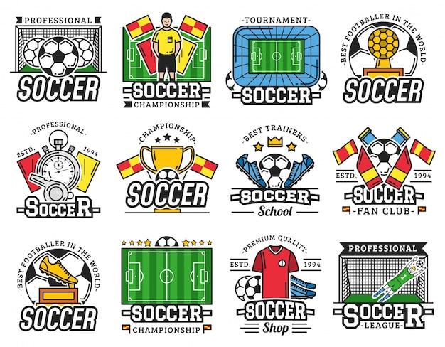 Iconos de club de fanáticos de la liga deportiva profesional de fútbol