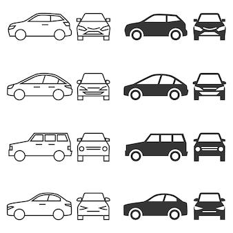 Iconos de coche de vista frontal y lateral - coches de línea y silueta aislados sobre fondo blanco.