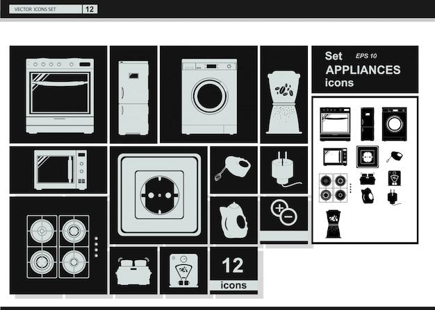 Iconos de la colección del vector. electrodomésticos utensilios de cocina