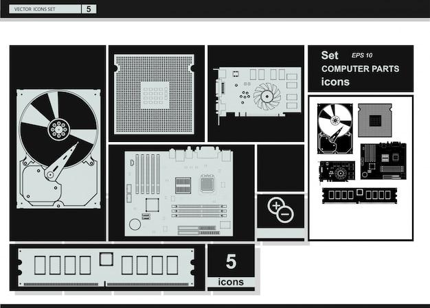 Iconos de la colección del vector. iconos del hardware del ordenador.