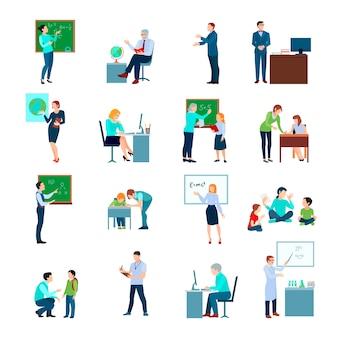 Los iconos coloreados del profesor de escuela fijaron con el profesor en la pizarra y los alumnos en el ejemplo aislado plano del vector del escritorio