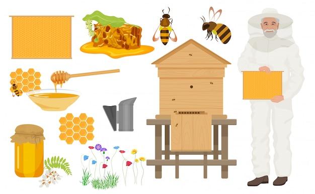 Iconos de colores de apicultura conjunto con hombre apicultor