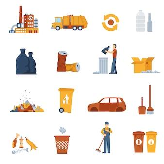 Iconos de colores de basura
