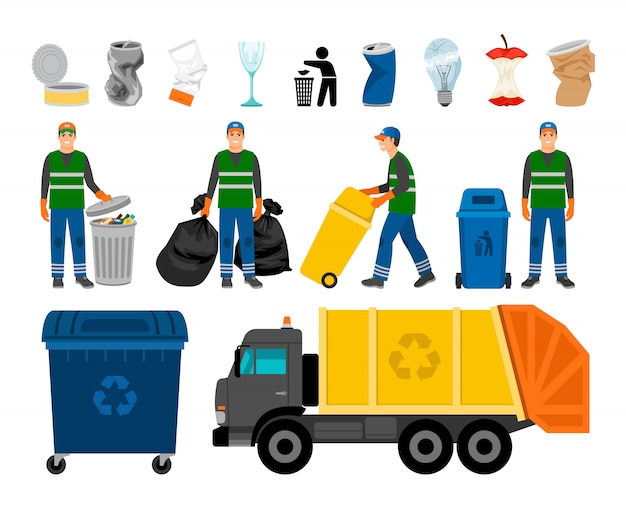 Iconos de colores de basurero, basura y basura.