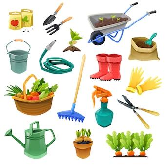 Iconos de colores decorativos de jardinería
