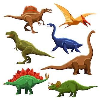 Iconos de colores de dinosaurios iet