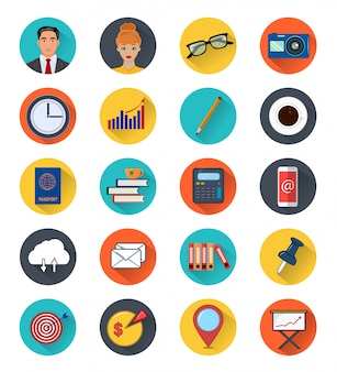 Iconos de colores de elementos de oficina.