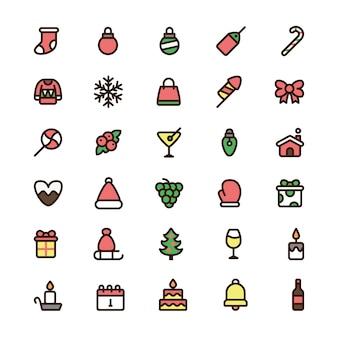 Iconos de colores de navidad