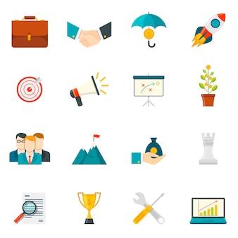 Iconos de colores planos de espíritu empresarial