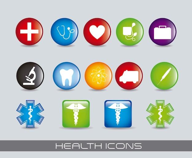 Iconos de colores de salud sobre fondo gris ilustración vectorial