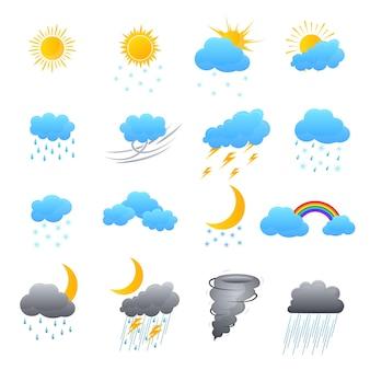 Los iconos de colores del tiempo de dibujos animados establecen el concepto de pronóstico de meteorología para el estilo plano de diseño web
