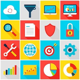 Iconos coloridos de big data analytics. ilustración de vector. conjunto de estadísticas comerciales de elementos de rectángulo plano con sombra.