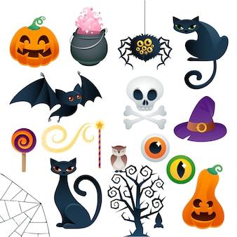 Los iconos coloridos de halloween establecen ilustración vectorial.