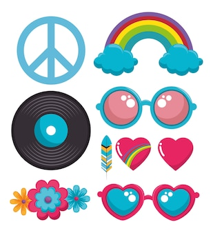 Iconos coloridos hippie