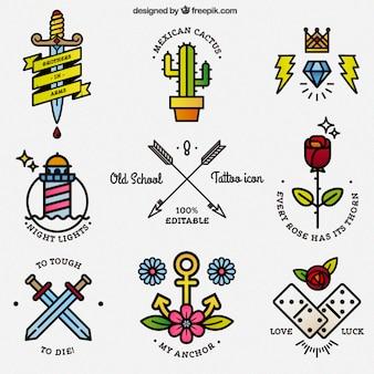 Iconos coloridos de tatuaje