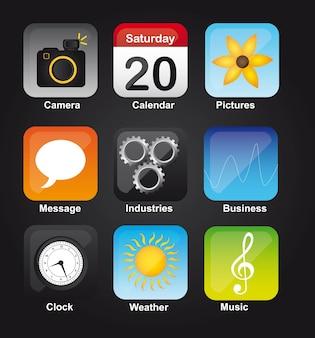 Iconos coloridos del teléfono sobre vector de fondo negro
