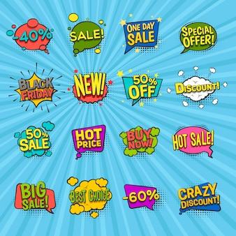 Iconos cómicos de descuento con símbolos de oferta especial
