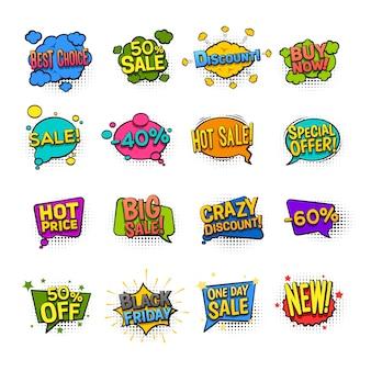 Los iconos cómicos de la venta fijaron con el ejemplo aislado plano del vector de los símbolos del descuento