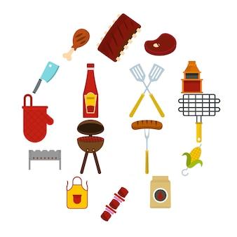 Iconos de comida barbacoa en estilo plano