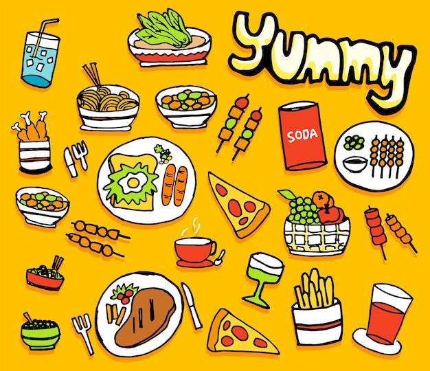 Los iconos de comida y bebida establecen ilustración aislada sobre fondo amarillo, dibujado a mano.