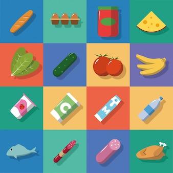 Iconos de comida y bebidas de fondo multicolor con sombras. ilustración de vector de estilo plano