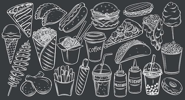 Iconos de comida en la calle en la ilustración de contorno de pizarra negra