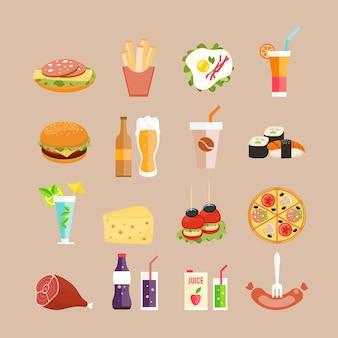 Iconos de comida. comida rápida, bebidas y panecillos en estilo plano.