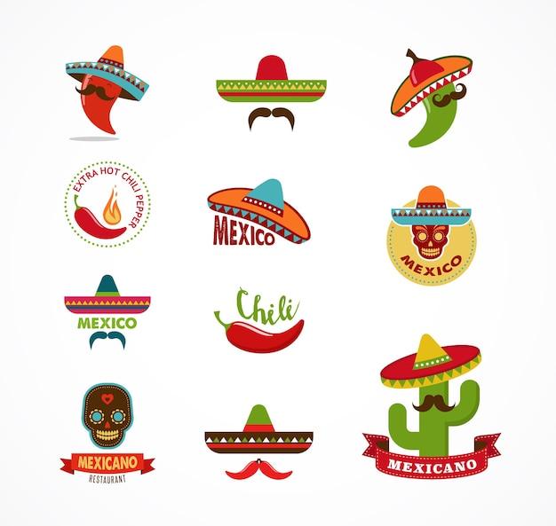 Iconos de comida mexicana, elementos de menú para restaurante