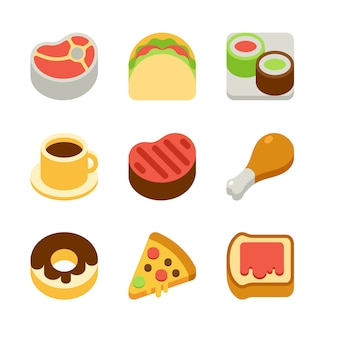 Iconos de comida plana isométrica