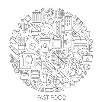 Iconos de comida rápida en círculo