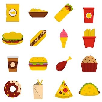 Iconos de comida rápida en estilo plano