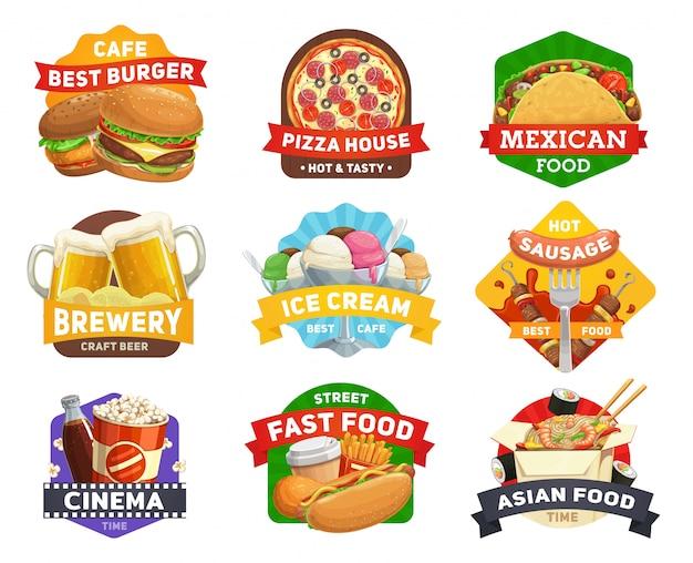 Iconos de comida rápida, hamburguesas, sándwiches restaurante