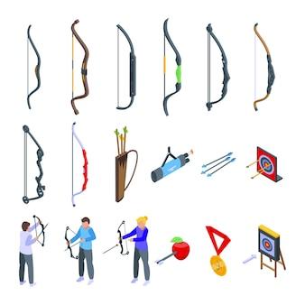 Los iconos de la competencia de tiro con arco establecen vector isométrico. objetivo de tiro al arco. objetivo de la diana