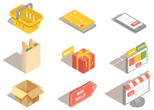 Iconos de compras 3d para supermercado