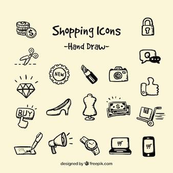 Iconos de compras dibujados a mano