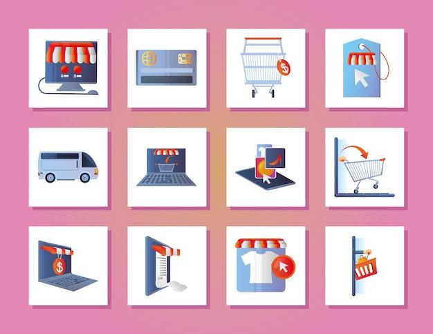 Los iconos de compras en línea establecen ilustración digital de dinero de computadora portátil