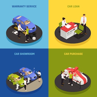 Iconos de concepto de concesionario de automóviles con símbolos de préstamo de coche isométrico aislado