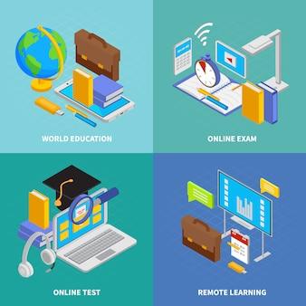 Iconos de concepto de educación en línea con ilustración aislada isométrica de símbolos de educación mundial